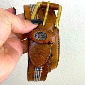VINTAGE BURBERRY Check E Saddle Leather Belt Size 36